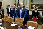 United States President Donald Trump looks on before a listening session on domestic and international human trafficking in the Roosevelt Room of the White House on February 23, 2017 in Washington, DC. <br /> Credit: Olivier Douliery / Pool via CNP