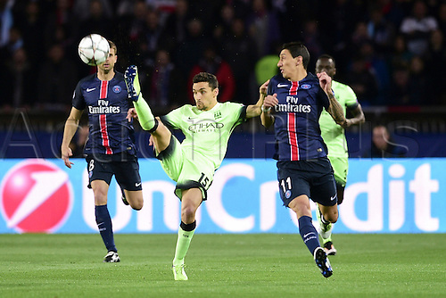06.04.2016. Paris, France. UEFA CHampions League, quarter-final. Paris St Germain versus Manchester City.  Jesus Navas (Manchester City) high foot on Angel Di Maria (PSG)