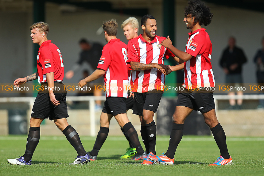 Chris Bourne (2nd R) is congratulated on scoring the first goal for AFC Hornchurch - AFC Hornchurch vs East Thurrock United - Ryman League Premier Division Football on Non-League Day at The Stadium, Upminster Bridge, Essex - 07/09/13 - MANDATORY CREDIT: Gavin Ellis/TGSPHOTO - Self billing applies where appropriate - 0845 094 6026 - contact@tgsphoto.co.uk - NO UNPAID USE