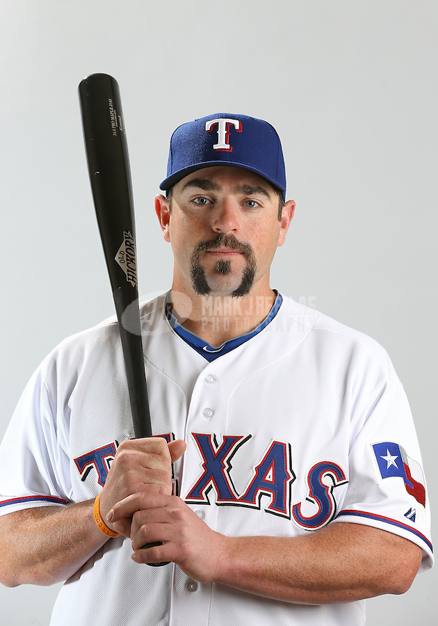 Feb. 20, 2013; Surprise, AZ, USA: Texas Rangers catcher Konrad Schmidt poses for a portrait during photo day at Surprise Stadium. Mandatory Credit: Mark J. Rebilas-
