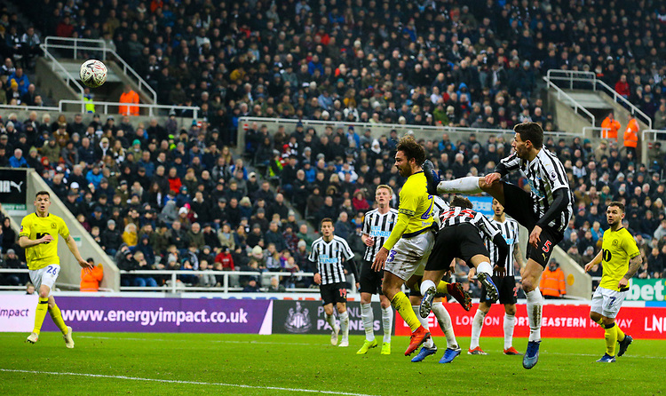 Blackburn Rovers' Bradley Dack scores the opening goal <br /> <br /> Photographer Alex Dodd/CameraSport<br /> <br /> Emirates FA Cup Third Round - Newcastle United v Blackburn Rovers - Saturday 5th January 2019 - St James' Park - Newcastle<br />  <br /> World Copyright © 2019 CameraSport. All rights reserved. 43 Linden Ave. Countesthorpe. Leicester. England. LE8 5PG - Tel: +44 (0) 116 277 4147 - admin@camerasport.com - www.camerasport.com