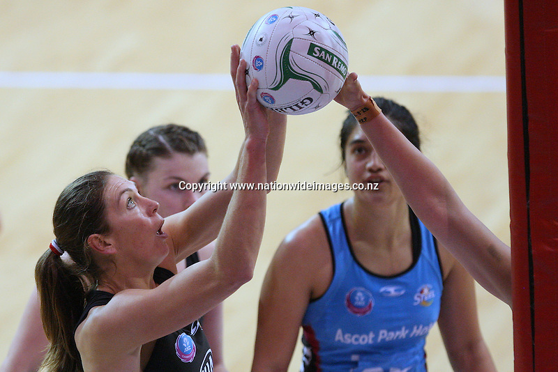 Magic's Irene van Dyk attempts a shot at goal against the Steel in the ANZ netball championship match, Stadium Southland Velodrome, Invercargill, New Zealand, Saturday, May 18, 2013. Credit:NINZ/Dianne Manson