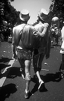 27.06.2009 <br /> <br /> Two men walking during gay pride.<br /> <br /> Deux hommes marchant durant la gay pride.