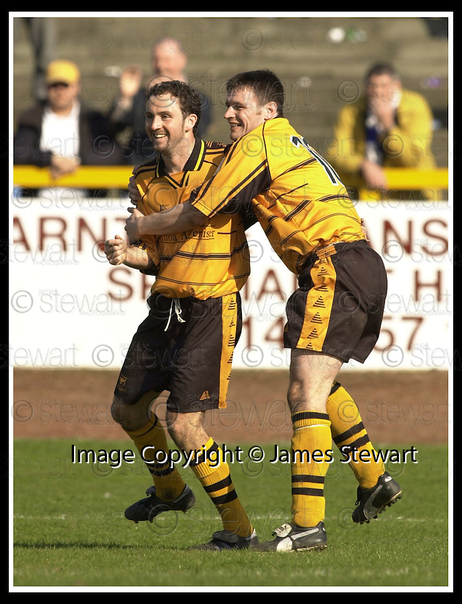 06/04/2002                 Copyright Pic : James Stewart .Ref :     .File Name : stewart-alloa v qos   20.ROSS HAMILTON (LEFT) IS CONGRATULATED BY GARETH HUTCHISON AFTER HE SCORED ALLOA'S THIRD GOAL.....James Stewart Photo Agency, 19 Carronlea Drive, Falkirk. FK2 8DN      Vat Reg No. 607 6932 25.Office     : +44 (0)1324 570906     .Mobile  : + 44 (0)7721 416997.Fax         :  +44 (0)1324 630007.E-mail  :  jim@jspa.co.uk.If you require further information then contact Jim Stewart on any of the numbers above.........