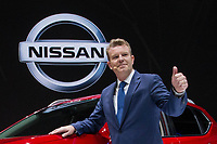 NEW YORK, NY - APRIL 12: Christian Meunier, chairman of Nissan Canada, speaks about the 2018 Nissan Rogue at the New York International Auto Show, at the Jacob K. Javits Convention Center on April 12, 2017 in Manhattan, New York. Photo by VIEWpress/Eduardo MunozAlvarez