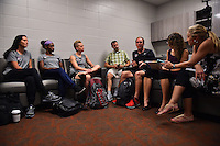 Houston, TX - Saturday Oct. 08, 2016: Ali Krieger, Crystal Dunn, Joanna Lohman, Jim Gabarra during a press conference prior to the National Women's Soccer League (NWSL) Championship match between the Washington Spirit and the Western New York Flash at Houston Sports Park.