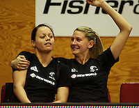 Silver ferns captain Casey Williams (right) welcomes Larissa Willcox to the team during the International  Netball Series match between the NZ Silver Ferns and World 7 at TSB Bank Arena, Wellington, New Zealand on Monday, 24 August 2009. Photo: Dave Lintott / lintottphoto.co.nz