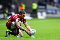 PICTURE BY ALEX WHITEHEAD/SWPIX.COM - Rugby League - Super League - Hull FC v Huddersfield Giants - KC Stadium, Hull, England - 01/07/12 - Huddersfield's Danny Brough prepares to kick for goal.