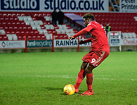 Accrington Stanley's Offrande Zanzala scores during the penalty shoot out<br /> <br /> Photographer Andrew Vaughan/CameraSport<br /> <br /> The EFL Checkatrade Trophy Second Round - Accrington Stanley v Lincoln City - Crown Ground - Accrington<br />  <br /> World Copyright &copy; 2018 CameraSport. All rights reserved. 43 Linden Ave. Countesthorpe. Leicester. England. LE8 5PG - Tel: +44 (0) 116 277 4147 - admin@camerasport.com - www.camerasport.com