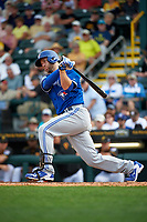 Toronto Blue Jays third baseman David Adams (7) at bat during a Spring Training game against the Pittsburgh Pirates on March 3, 2016 at McKechnie Field in Bradenton, Florida.  Toronto defeated Pittsburgh 10-8.  (Mike Janes/Four Seam Images)