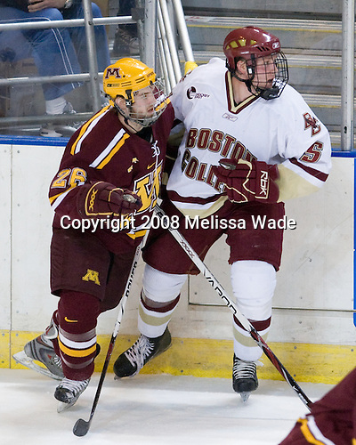 Jay Barriball (Minnesota - 26), Tim Filangieri (BC - 5) - The Boston College Eagles defeated the University of Minnesota Golden Gophers 5-2 on Saturday, March 29, 2008, in the NCAA Northeast Regional Semi-Final at the DCU Center in Worcester, Massachusetts.