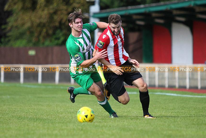 Brad Warner of Hornchurch and Daniel Buddle of Soham challenge for the ball during AFC Hornchurch vs Soham Town Rangers, Bostik League Division 1 North Football at Hornchurch Stadium on 12th August 2017