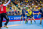 Jannik KOHLBACHER (#80 Rhein-Neckar Loewen) vs. Juergen MUELLER (#12 SG BBM) beim Spiel in der Handball Bundesliga, SG BBM Bietigheim - Rhein Neckar Loewen.<br /> <br /> Foto &copy; PIX-Sportfotos *** Foto ist honorarpflichtig! *** Auf Anfrage in hoeherer Qualitaet/Aufloesung. Belegexemplar erbeten. Veroeffentlichung ausschliesslich fuer journalistisch-publizistische Zwecke. For editorial use only.
