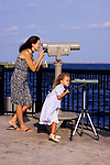 Mom and child with a telescope