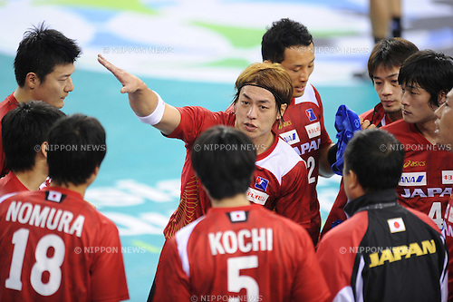 Daisuke Miyazaki and team group (JPN), OCTOBER 31, 2011 - Handball : Daisuke Miyazaki of Japan during the Asian Men's Qualification for the London 2012 Olympic Games semifinal match between Japan 22-21 Saudi Arabia in Seoul, South Korea.  (Photo by Takahisa Hirano/AFLO)