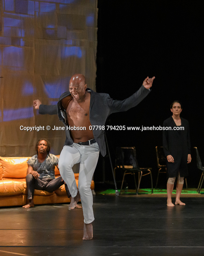 "Faso Danse Theatre/ Serge Aime Coulibaly presents ""Kalakuta Republik"", choreographed by Aerge Aime Coulibaly, at the Royal Lyceum Theatre, as part of the Edinburgh International Festival.  The dancers are: Marion Alzieu, Serge Aime Coulabily, Adonis Nebie, Sayouba Segue, Ahmend Soura, Ida Faho. Picture shows: Adonis Nebie, Serge Aime Coulibaly, Marion Alzieu."
