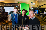 Pictured at the Kerry ETB Further Education and Training Fair at the Brandon Hotel, Tralee, on Wednesday morning last were Jack Gleeson (Athea) and Igor Teixeira (Abbeyfeale) with Alan Cantell (Kerry ETB Training Centre), who are studying Digital Media and Broadcast Production Skills in Media and Radio, at Kerry ETB Training Centre, Monavalley, Tralee.