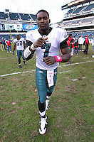 PHILADELPHIA - OCTOBER 11: Quarterback Michael Vick #7 of the Philadelphia Eagles jogs off the field after a game against the Tampa Bay Buccaneers on October 11, 2009 at Lincoln Financial Field in Philadelphia, Pennsylvania. The Eagles won 33-14. (Photo by Hunter Martin/Getty Images) *** Local Caption *** Michael Vick