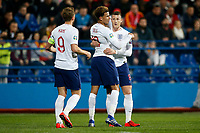 Ross Barkley of England celebrates wiith Dele Alli of England and Harry Kane of England after scoring his side's second goal to make the score 1-2  <br /> Podgorica 25-3-2019 <br /> Football Euro2020 Qualification Montenegro - England <br /> Foto Daniel Chesterton / PHC / Insidefoto <br /> ITALY ONLY