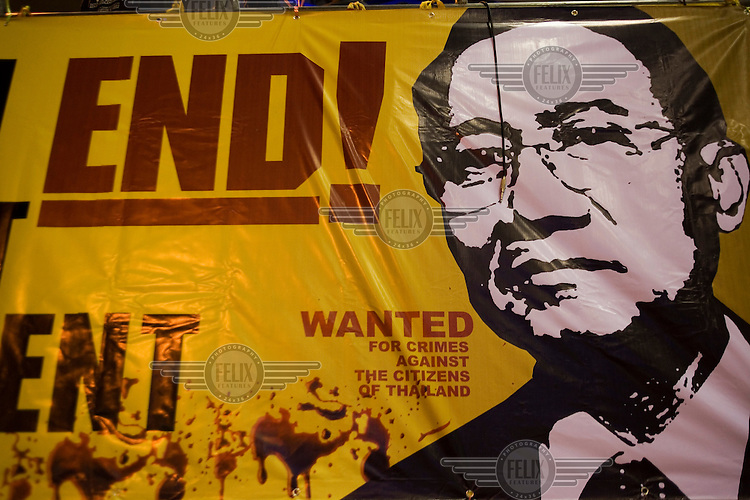 A giant poster calling for the resignation of Prime Minister Somchai Wongsawat hangs in Suvarnabhumi International Airport after it was seized during protests by the PAD (People's Alliance for Democracy). The week-long protests brought all air traffic to a halt, and on 02/12/2008, Prime Minister Somchai Wongsawat resigned and the Constitutional Court dissolved the three parties of the government coalition on the grounds of electoral fraud, marking a victory for the PAD.....