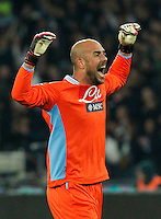 Pepe Reina reacts  during the Italian Serie A soccer match between SSC Napoli and Juventus FC   at San Paolo stadium in Naples, March 30 , 2014