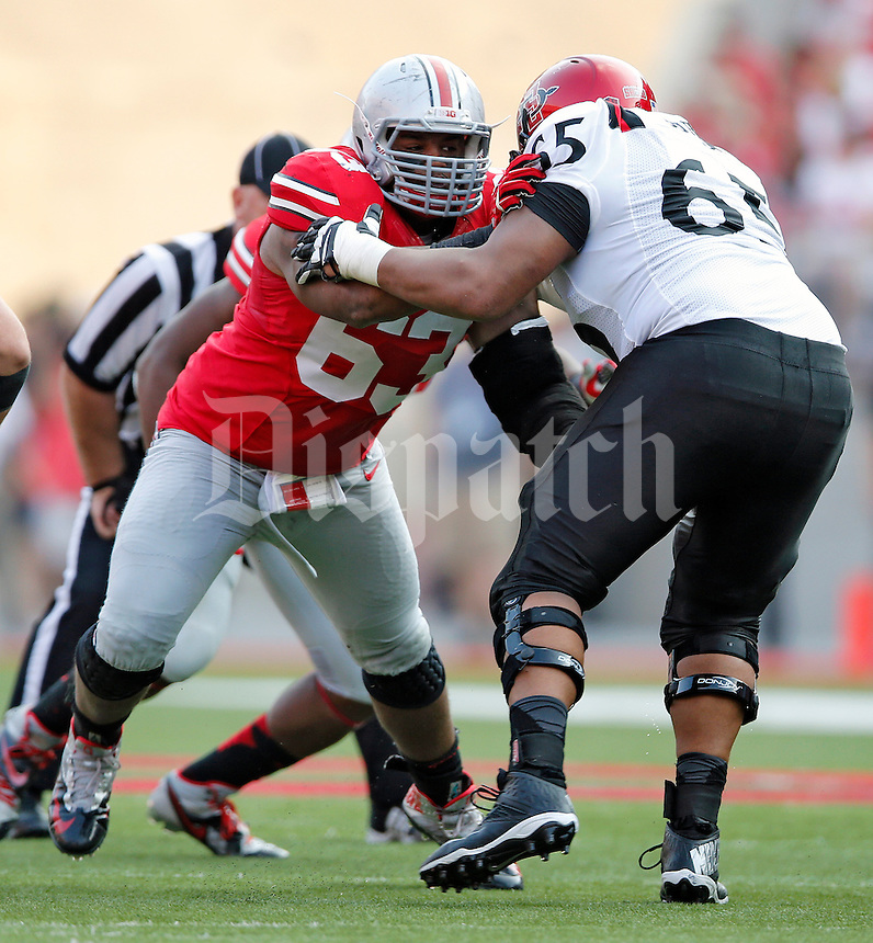 Ohio State Buckeyes defensive lineman Michael Bennett (63) against San Diego State Aztecs in their college football game at Ohio Stadium in Columbus on September 7, 2013.  (Dispatch photo by Kyle Robertson)