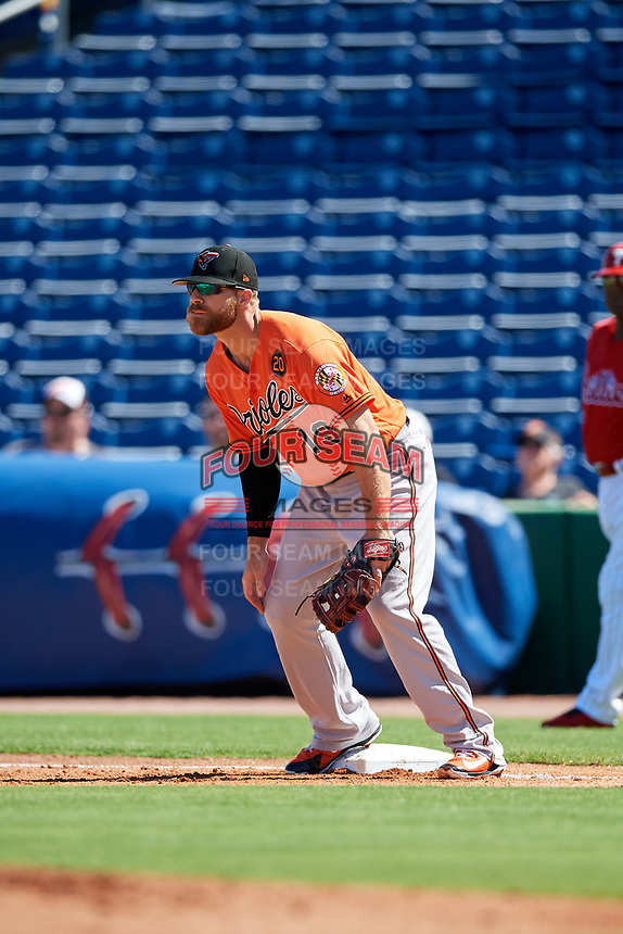 Baltimore Orioles first baseman Chris Davis (19) during a Grapefruit League Spring Training game against the Philadelphia Phillies on February 28, 2019 at Spectrum Field in Clearwater, Florida.  Orioles tied the Phillies 5-5.  (Mike Janes/Four Seam Images)
