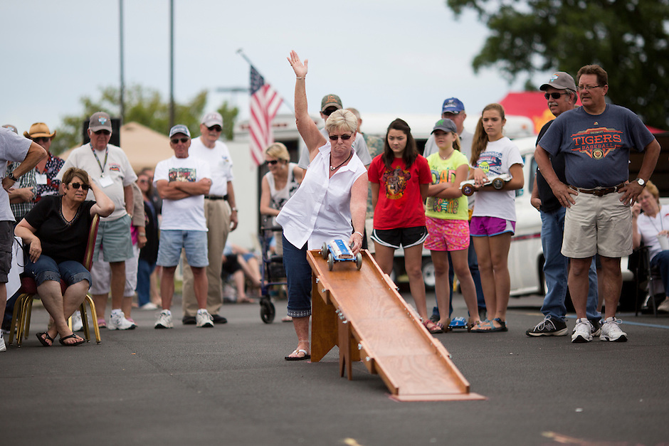 A participant releases her valve cover race car during 4th State Representative Chevy Show on Saturday, July 2, 2016, in Fort Wayne, Indiana. (Photo by James Brosher)