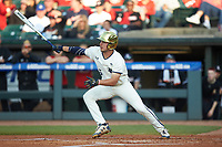 Cole Daily (6) of the Notre Dame Fighting Irish follows through on his swing against the Louisville Cardinals in Game Eight of the 2017 ACC Baseball Championship at Louisville Slugger Field on May 25, 2017 in Louisville, Kentucky. The Cardinals defeated the Fighting Irish 10-3. (Brian Westerholt/Four Seam Images)