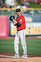 Albuquerque Isotopes starting pitcher Matt Flemer (24) warms up in the bullpen before the game against the Salt Lake Bees in Pacific Coast League action at Smith's Ballpark on June 10, 2017 in Salt Lake City, Utah. The Isotopes defeated the Bees 4-2. (Stephen Smith/Four Seam Images)