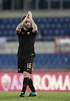 Calcio, Serie A: Roma, stadio Olimpico, 16 settembre 2017.<br /> Roma's captain Daniele De Rossi celebrates after winning 3-0 the Italian Serie A football match between AS Roma and Hellas Verona at Rome's Olympic stadium, September 16, 2017.<br /> UPDATE IMAGES PRESS/Isabella Bonotto