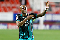 Andre Ayew of Swansea City celebrates his team's win with Andre Ayew during the Sky Bet Championship match between Charlton Athletic and Swansea City at The Valley, London, England, UK. Wednesday 02 October 2019