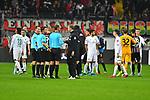 06.10.2019, Commerzbankarena, Frankfurt, GER, 1. FBL, Eintracht Frankfurt vs. SV Werder Bremen, <br /> <br /> DFL REGULATIONS PROHIBIT ANY USE OF PHOTOGRAPHS AS IMAGE SEQUENCES AND/OR QUASI-VIDEO.<br /> <br /> im Bild: Florian Kohlfeldt (Trainer, SV Werder Bremen) bei Schiedsrichter Guido Winkmann<br /> <br /> Foto © nordphoto / Fabisch