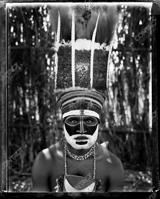 Member of the Wurup village, from the Western Highlands Province at the annual 'Sing-Sing' festival, Mount Hagen, Papua New Guinea, August 2004.