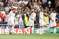Nacho, Cristiano Ronaldo, Sergio Ramos, Luka Modric and Marcelo of Real Madrid during the Champions League group B soccer match between Real Madrid and FC Basel 1893 at Santiago Bernabeu Stadium in Madrid, Spain. September 16, 2014. (ALTERPHOTOS/Caro Marin) /NortePhoto.com