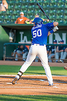 Scott De Jong (50) of the Ogden Raptors at bat against the Helena Brewers in Pioneer League action at Lindquist Field on August 17, 2015 in Ogden, Utah. Ogden defeated Helena 7-2.  (Stephen Smith/Four Seam Images)