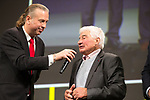 Raymond Poulidor (FRA) on stage at the Tour de France 2019 route presentation held at Palais de Congress, Paris, France. 25th October 2018.<br /> Picture: ASO/Thomas Maheux | Cyclefile<br /> <br /> <br /> All photos usage must carry mandatory copyright credit (© Cyclefile | ASO/Thomas Maheux)