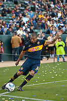Midfielder Jesus Mendez (5) takes a corner kick during the second half of a friendly between LA Galaxy and Boca Juniors. The game was held at the Home Depot Center in Carson, CA on May 23, 2010. The final score was LA Galaxy 1, Boca Juniors 0.