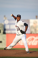 Elisser Hernandez (29) of the Lancaster JetHawks pitches against the Rancho Cucamonga Quakes at The Hanger on April 19, 2016 in Lancaster, California. Rancho Cucamonga defeated Lancaster, 10-6. (Larry Goren/Four Seam Images)