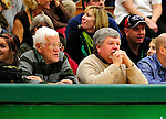 30 January 2010: Tony Adams (left), the original Sports Director and host of Across the Fence at Burlington television station WCAX and Ted Ryan (right) the former Sports Editor at the Burlington Free Press, watch a basketball game between the University of Vermont Catamounts and the University at Albany Great Danes at Patrick Gymnasium in Burlington, Vermont. The Catamounts defeated the Danes 64-46 in the America East matchup. Mandatory Credit: Ed Wolfstein Photo
