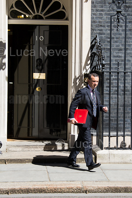 Alun Cairns MP (Secretary of State for Wales).<br /> <br /> London, 19/07/2016. First Cabinet meeting at 10 Downing Street (after the EU Referendum and consequent David Cameron's resignation) for the new Prime Minister Theresa May and her newly formed Conservative Government.<br /> <br /> For more information about the Cabinet Ministers: https://www.gov.uk/government/ministers