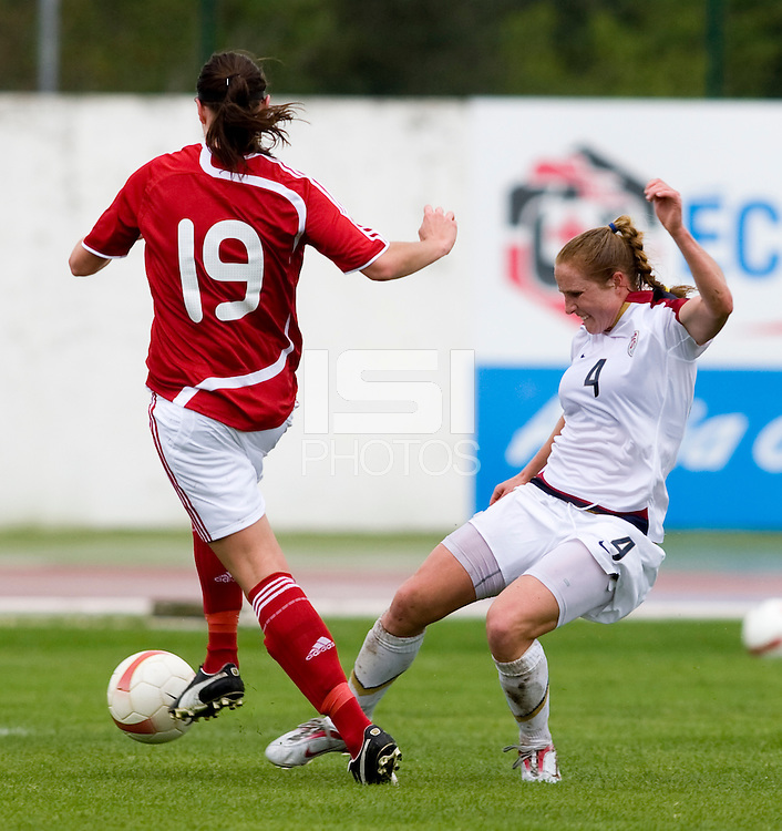 Rachel Buehler, Marianne Pedersen. The USWNT defeated Denmark, 2-0, in Lagos, Portugal during the Algarve Cup.
