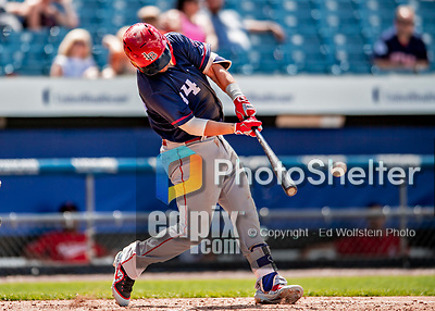 22 July 2018: Louisville Bats infielder D.J. Peterson singles in the 8th inning against the Syracuse SkyChiefs at NBT Bank Stadium in Syracuse, NY. The Bats defeated the Chiefs 3-1 in AAA International League play. Mandatory Credit: Ed Wolfstein Photo *** RAW (NEF) Image File Available ***