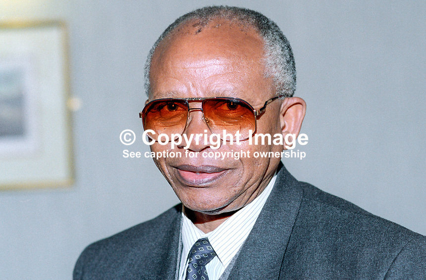 Mendi Msimang, chief representative, African National Congress, to UK and Ireland, 19920905MM.<br /> <br /> Copyright Image from Victor Patterson, 54 Dorchester Park, <br /> Belfast, UK, BT9 6RJ<br /> <br /> t1: +44 28 9066 1296 (from Rep of Ireland 048 9066 1296)<br /> t2: +44 28 9002 2446 (from Rep of Ireland 048 9002 2446)<br /> m: +44 7802 353836<br /> <br /> e1: victorpatterson@me.com<br /> e2: victorpatterson@gmail.com<br /> www.victorpatterson.com<br /> <br /> Please see my Terms and Conditions of Use at www.victorpatterson.com. It is IMPORTANT that you familiarise yourself with them.<br /> <br /> Images used on the Internet must be visibly watermarked i.e. &copy; Victor Patterson<br /> within the body of the image and copyright metadata must not be deleted. Images <br /> used on the Internet have a size restriction of 4kbs and will be chargeable at current<br />  NUJ rates unless agreed otherwise.<br /> <br /> This image is only available for the use of the download recipient i.e. television station, newspaper, magazine, book publisher, etc, and must not be passed on to any third <br /> party. It is also downloaded on condition that each and every usage is notified within 7 days to victorpatterson@me.com<br /> <br /> The right of Victor Patterson to be identified as the author is asserted in accordance with The Copyright Designs And Patents Act (1988). All moral rights are asserted.