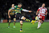 Stephen Myler of Northampton Saints puts boot to ball. Aviva Premiership match, between Northampton Saints and Gloucester Rugby on November 27, 2015 at Franklin's Gardens in Northampton, England. Photo by: Patrick Khachfe / JMP