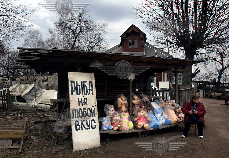 A woman sells stuffed toys near a disused car that lays trashed in front of a wooden house on the road, near the town of Tver.
