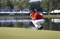 Patrick Reed (USA) on the 14th green during Thursday's Round 1 of the 2017 PGA Championship held at Quail Hollow Golf Club, Charlotte, North Carolina, USA. 10th August 2017.<br /> Picture: Eoin Clarke | Golffile<br /> <br /> <br /> All photos usage must carry mandatory copyright credit (&copy; Golffile | Eoin Clarke)