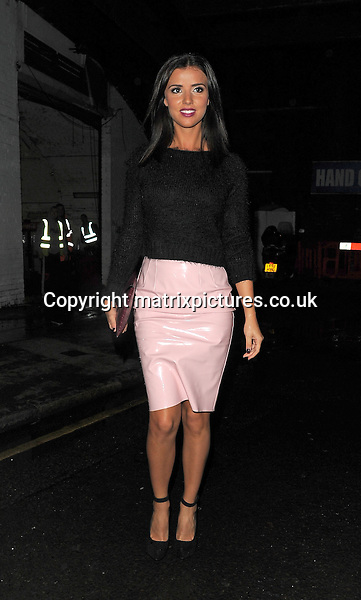 NON EXCLUSIVE PICTURE: PALACE LEE / MATRIXPICTURES.CO.UK<br /> PLEASE CREDIT ALL USES<br /> <br /> WORLD RIGHTS<br /> <br /> TOWIE reality TV star and model Lucy Mecklenburgh attending a show at Somerset House during S/S 2014 London Fashion Week.<br /> <br /> SEPTEMBER 13th 2013<br /> <br /> REF: LTN 136106