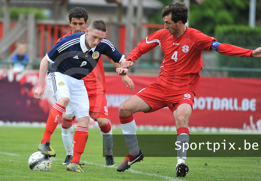 Scotland U19 - Georgia U19 : Declan Mcmanus (9) and Nika Sandokhadze (4).foto DAVID CATRY / Nikonpro.be