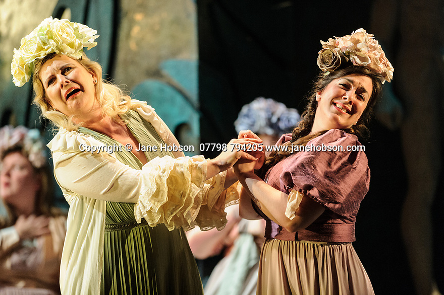 London, UK. 07.03.2017. English Touring Opera presents PATIENCE, by Gilbert & Sullivan, at the Hackney Empire, prior to its UK tour. Picture shows: Gaynor Keeble ( Angela) & Suzanne Fischer ( Saphir). Photograph © Jane Hobson.